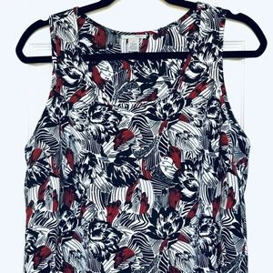 Nordstrom Halogen Blouse Black, White, Red Floral